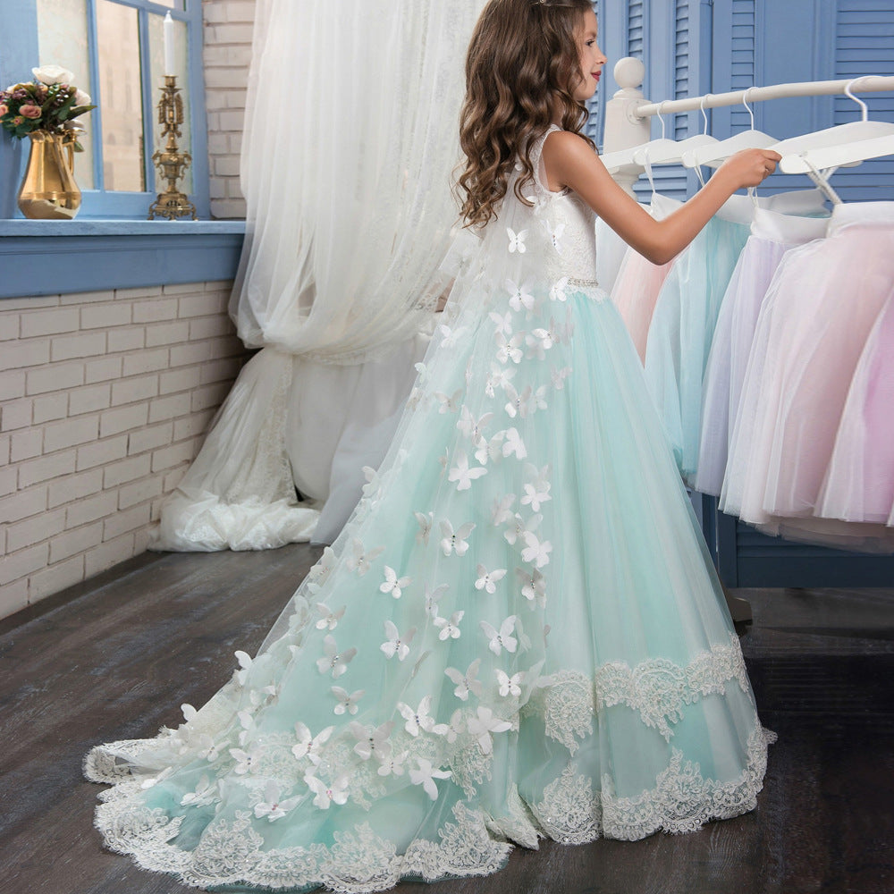 Princess Lace Flower Girl Dresses Kids Wedding Pageant Ball Gowns with Wrap Butterfly Girls First Communion Dress Tail cap