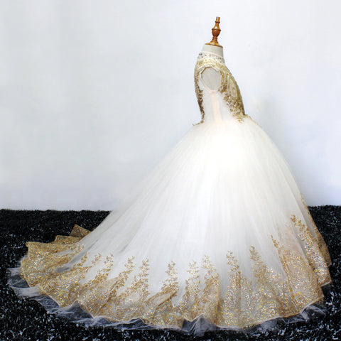 Gold Lace Flower Girls Pageant Dresses for Wedding Long Puffy Prom Tulle Pageant Ball Gown princess girls dress