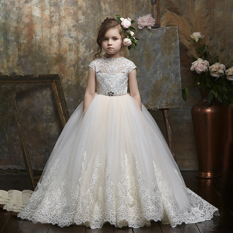 Luxury Flower Girl Dress with Embroidery Sheer Children's Pageant Tulle Gown Cutout Back