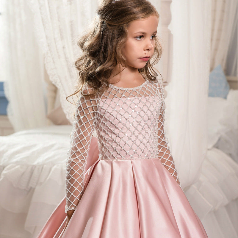 First Communion Long Sleeves Christmas Flower Girl Dress Floor Length Button Draped Tulle Ball Gowns for Pageant Birthday Party
