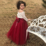 Flower Girl Dress Long Sleeve Kids Lace Pageant Party Christmas Ball Gown Dresses