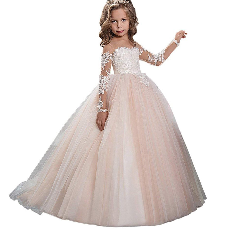 Communion Ball Gowns  Long Sleeves Lace Champagne Vintage  Princess Dresses Flower Girl Dresses for Wedding