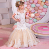 Girls' Off Shoulder Gown Flower Girl Dress Mermaid Lace Tutu Dresses Children's Princess Dress