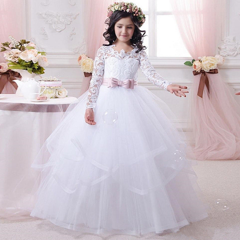 Communion Dress for Girsl Pageant Dresses Full Fancy Kids Dresses Long Sleeves Princess Floor Length