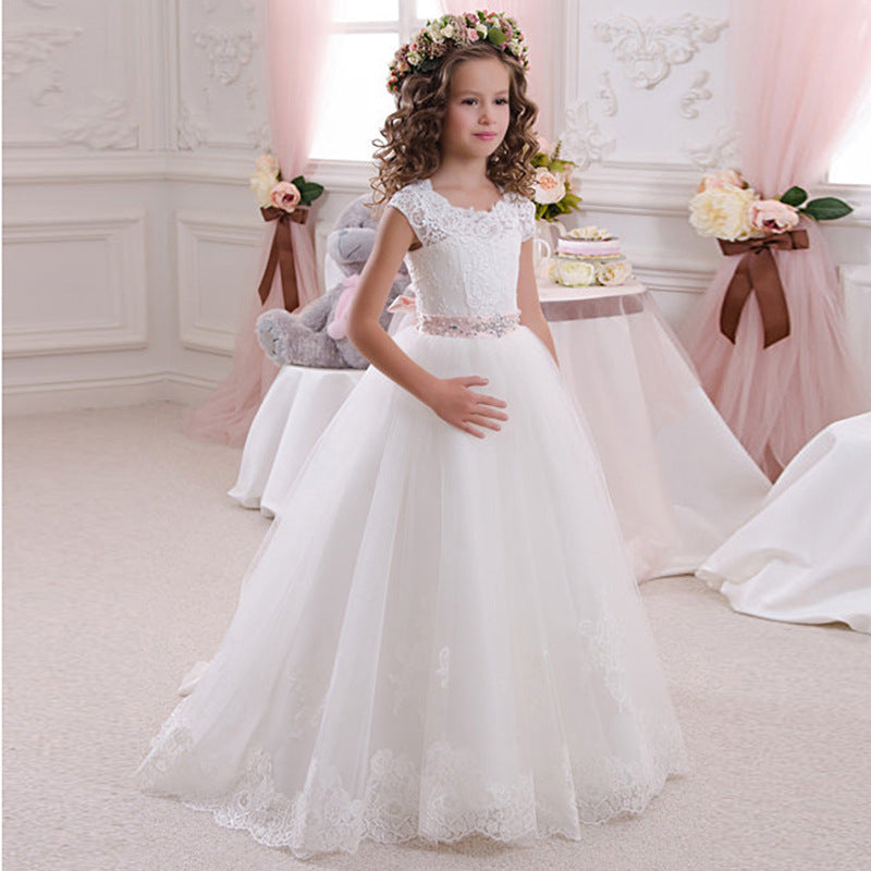 First Communion Princess Dress for Girls with Lace Round Neck Sleeveless Children Puffy Dress