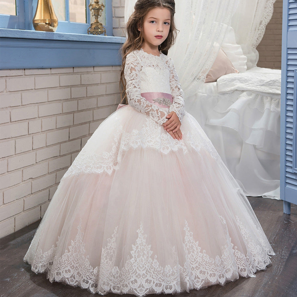 First Communion Ball Gowns Lace Appliques Ruffled Long Sleeves Girl Pageant Dresses Full Fancy Girl Flower Girls Dresses