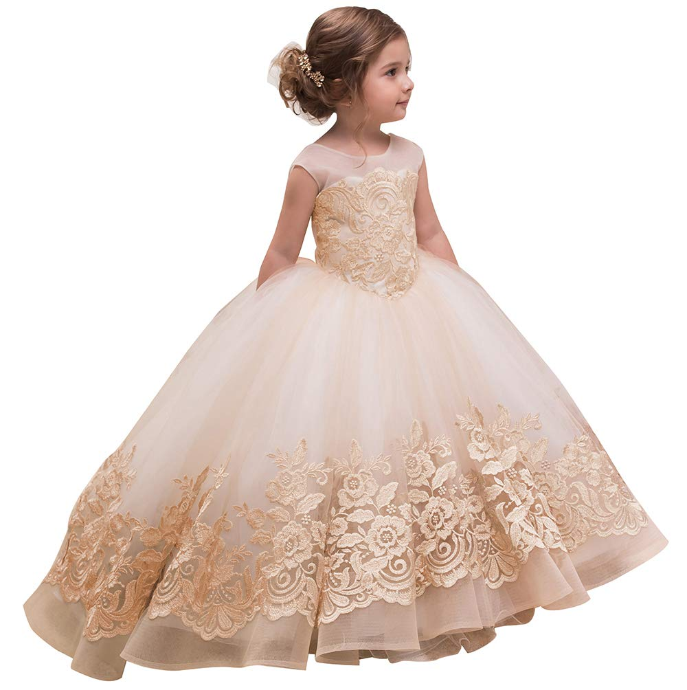 Elegant Flower Girl Dress for Wedding Kids Sleevelesss Lace Pageant Ball Gowns fancy girl Birthday Dresses