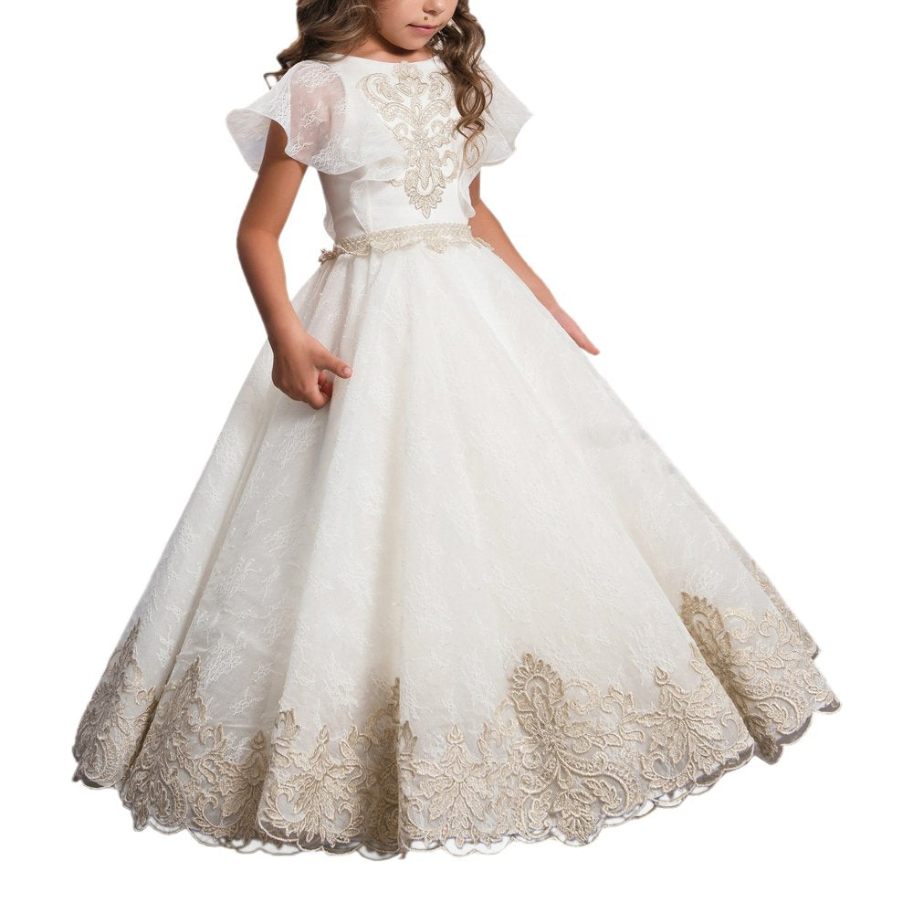 Flower Girl Dresses for Wedding Lace Applique Dresses Long Ball Gowns Princess Dresses