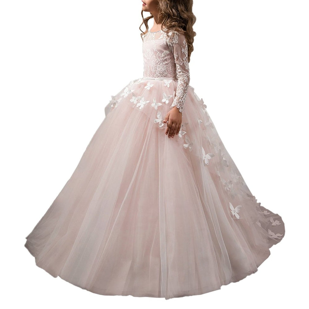 Flower Girl Dresses for Wedding Long Sleeve Butterflies Dresses First Communion Dresses girls ball gowns princess dresses