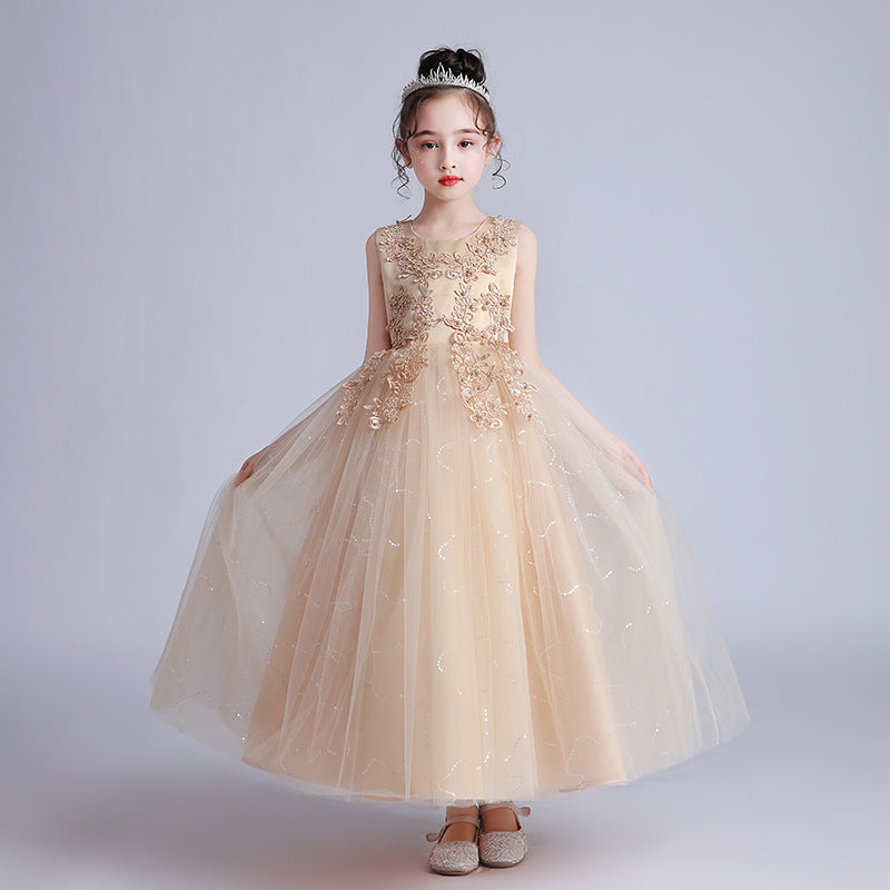 Cute Flower Girl Dresses For Wedding O-Neck Appliques Ball Gown For Kids Lace Beauty Holy Communion Dresses Vestido Flores