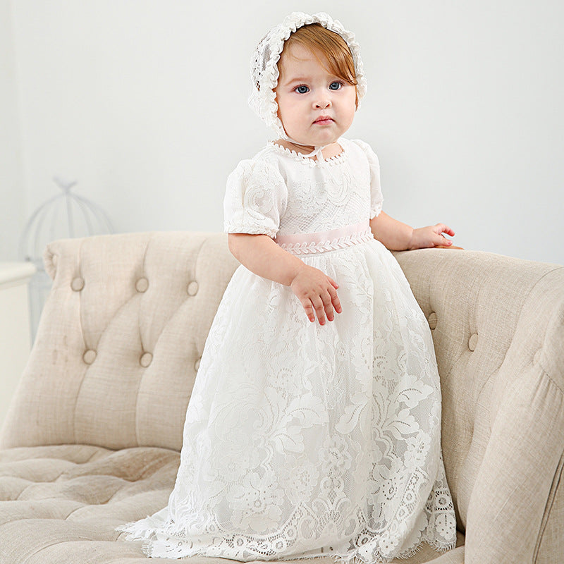 New Arrival Noble Baby Girls Christening Dress White Baptism Gown Lace WITH BONNET Dress 0-24month