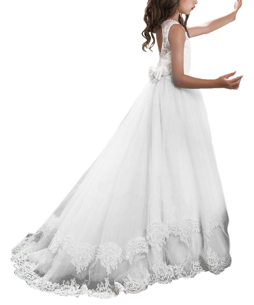 First Communion Dress Tail Cap Princess Lace Flower Girl Dresses Kids Wedding Pageant Ball Gowns with Wrap Butterfly Girls