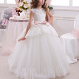Communion Long Tulle Puffy Dress Flower Girl Floor Length White Lace Princess with Bow Sleeveless