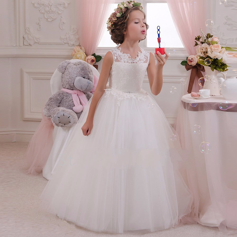 First Communion Girls Wedding Princess Dress Pageant Embroidery Sleeveless Ball Gown Flower Dresses