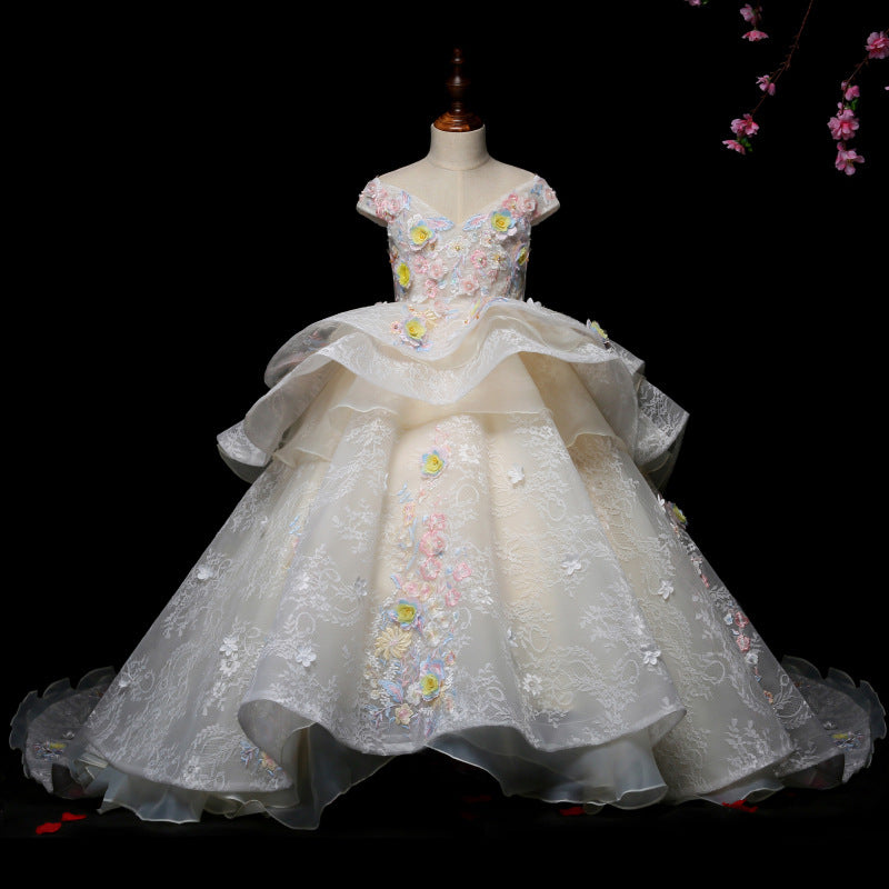 Children Girls High-Quality Evening Party Birthday Princess Long Tail Dress Kids Elegant Sequined Host Model Dress