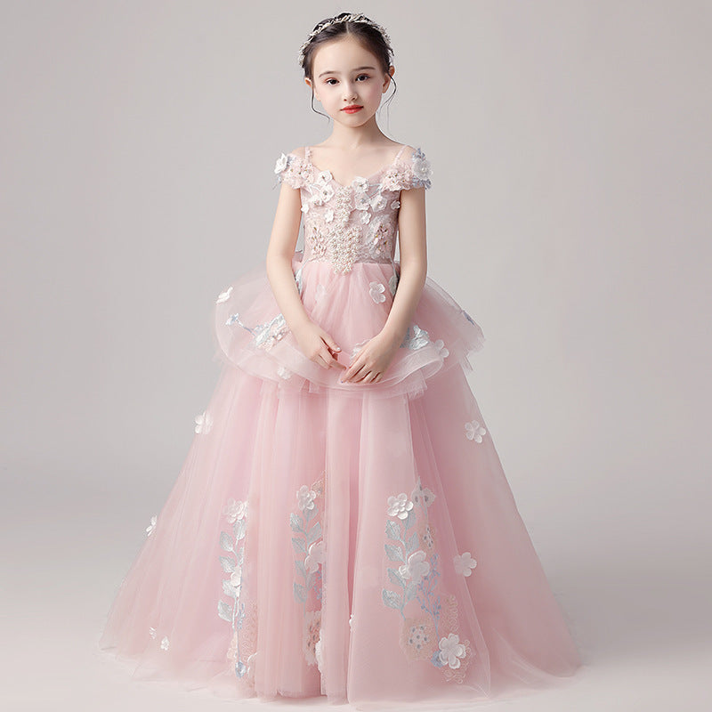 Fashion Pink Flower Girl Dresses Kids Evening Gowns Beads Princess Puffy Skirts For Girls Celebrity Children Dresses