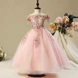 Off Shoulder Lace Tulle Applique Flower Girl Dresses for 3-12 Years Old