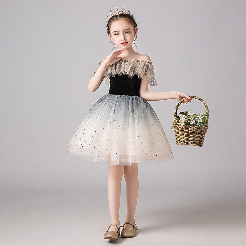 Little Kids Off the Shoulder Long Sleeve Holy Romper Dress Sequined Flower Girl Dresses for Wedding Gradient Color Princess Party Dress
