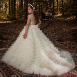 Luxury Girl's Short/Long Sleeves Trailing Dress Kid's Elegant Princess Dress with Belt New Arrivals