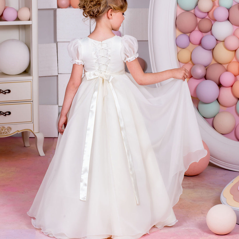 New Flower Girl Dresses Children's White Party Dress Puff Sleeve Flower Length Pageant Gown Birthday Dress