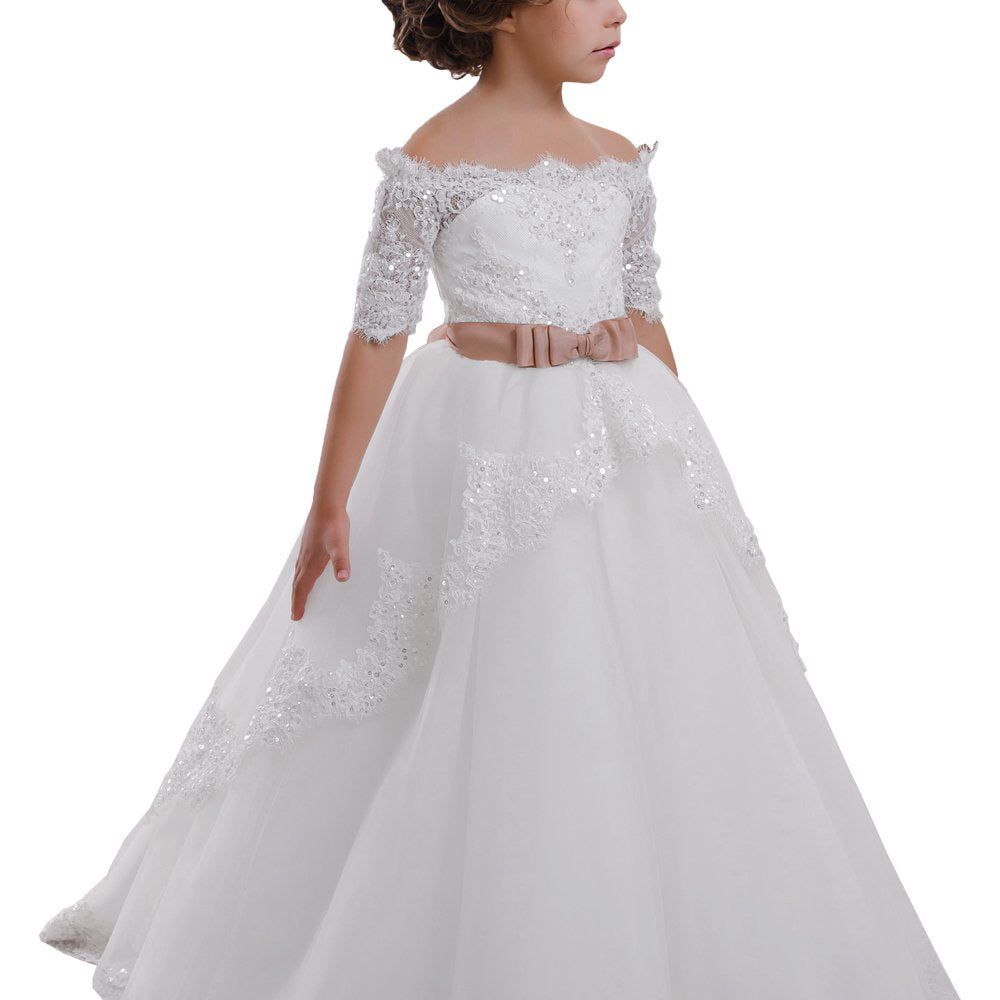 Elegant Flower Girl Lace Beading First Communion Dress Kids Lace Ball Gown Dresses