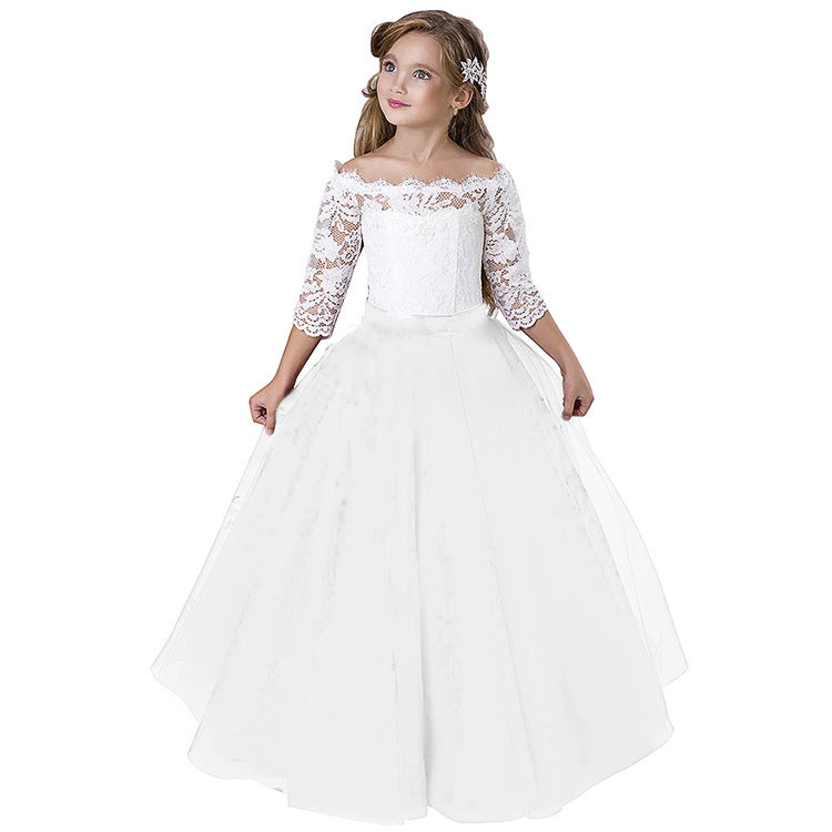 First Communion Dresses Long Sleeve Kids Lace Pageant Party Christmas Ball Gown Flower Girl Dress