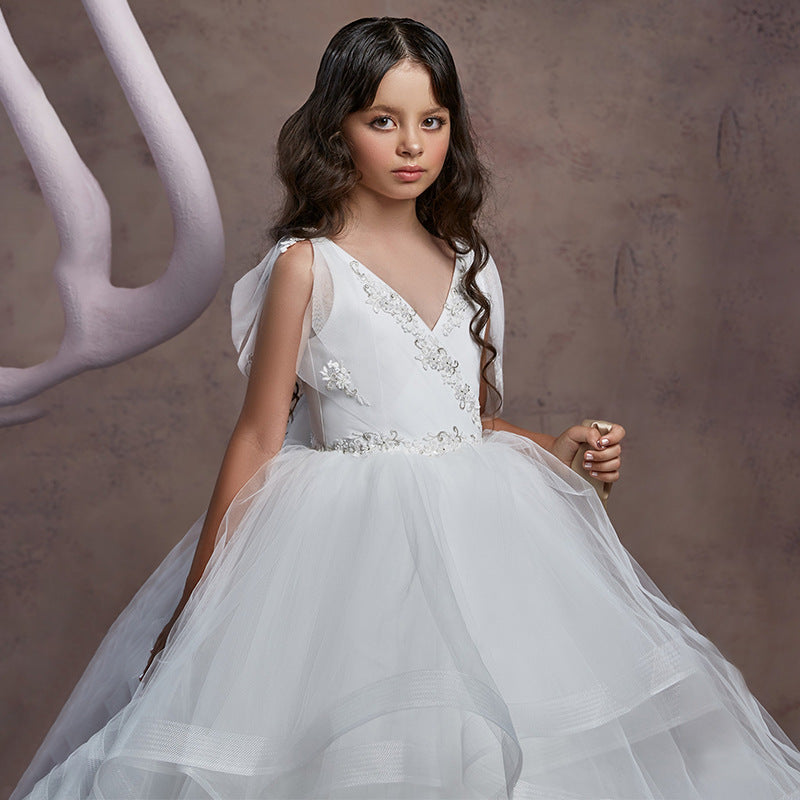 First Communion Dress Childrens Kids Girls Fancy Formal Elegant Ruffle Tulle Pageant Dress Ball Gown