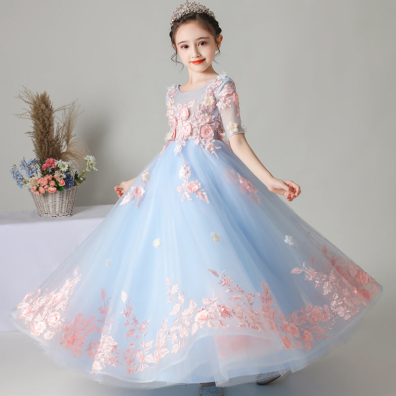 Blue and Pink Flower Girl Dresses 3D Flowers Children's Puffy Trailing Dress Kid's Holiday Dress
