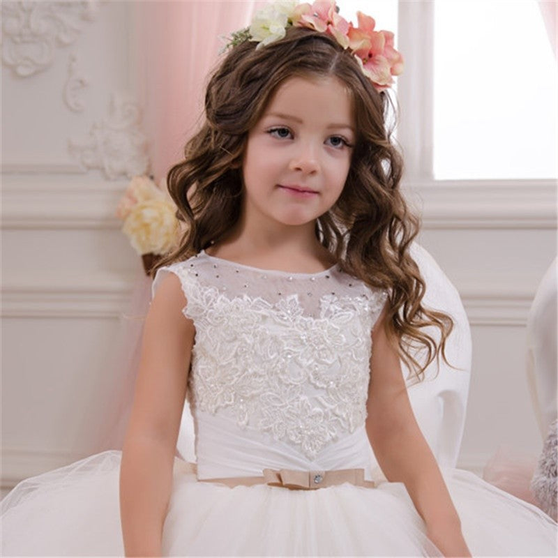 Beautiful Pageant Dresses For Kids Ball Gown Flower Girl Dresses For Weddings Lvory Sleeveless Communion Dresses