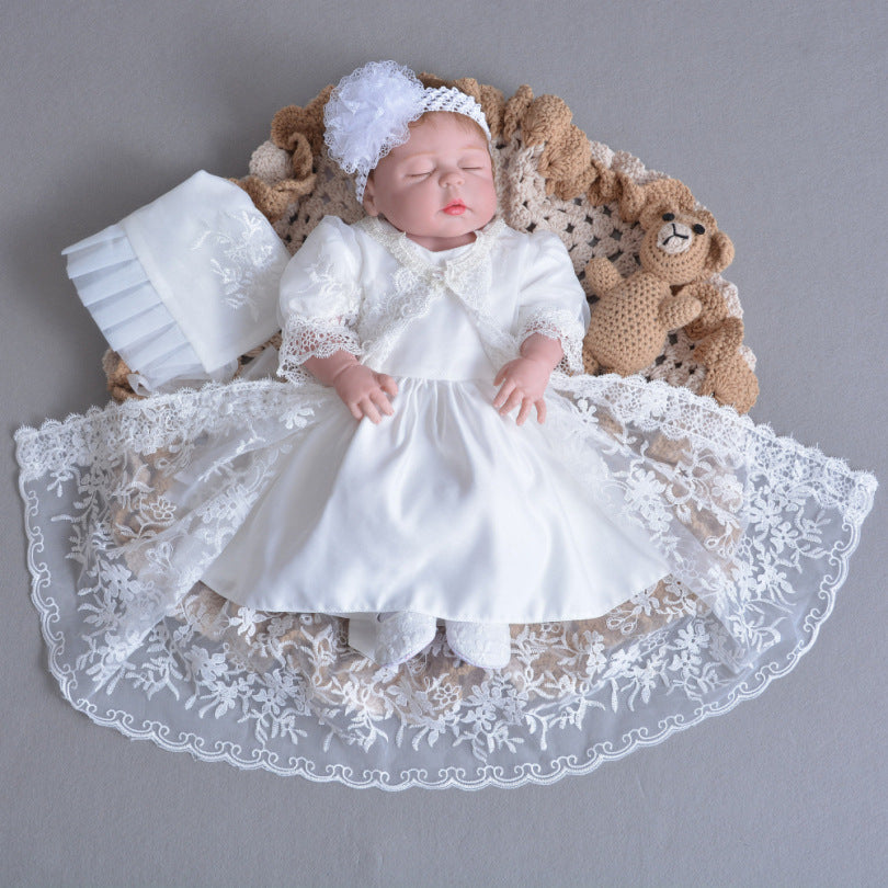White Handmade Lace Baby & Toddler Christening Gowns with Bonnet Set
