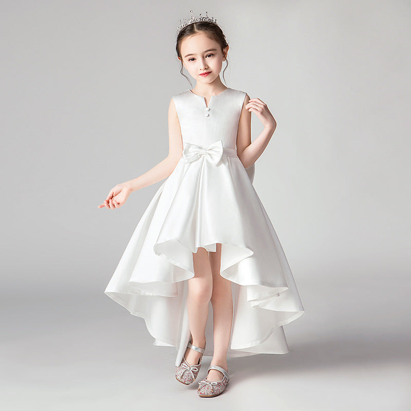 Communion Dress with Bow for Girls Sleeveless Princess Dress for Banquet High Low Style Gown