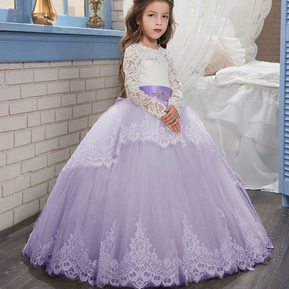 Flower Girls Ball Gowns Lace Appliques Ruffled Long Sleeves Back Hole Princess Floor Length Girl Pageant Dresses Full Fancy Girl Dresses