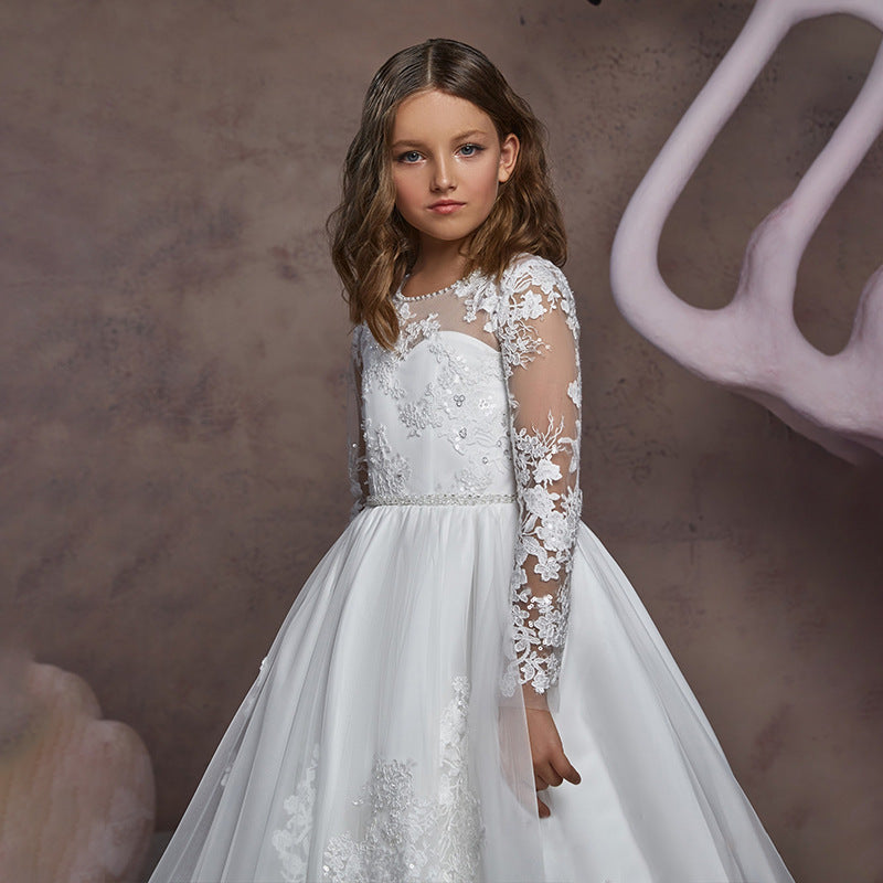 First Communion Dress Long Sleeves White Embroidery Sheer Princess Formal Dress