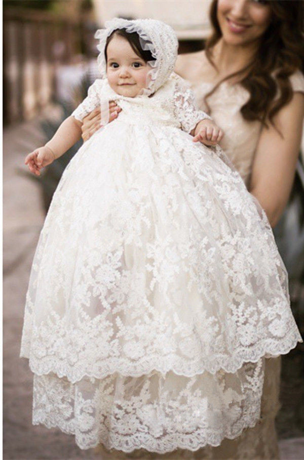 White Lace Embroidered Christening Baptism Gown Baby-Girls Newborn infant Gown with Bonnet Set
