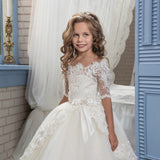 Off Shoulder Flower Girl Dress Half Sleeve Lace Applique Bridesmaid Dress Fancy Pageant Princess Tulle Dress for Party Wedding
