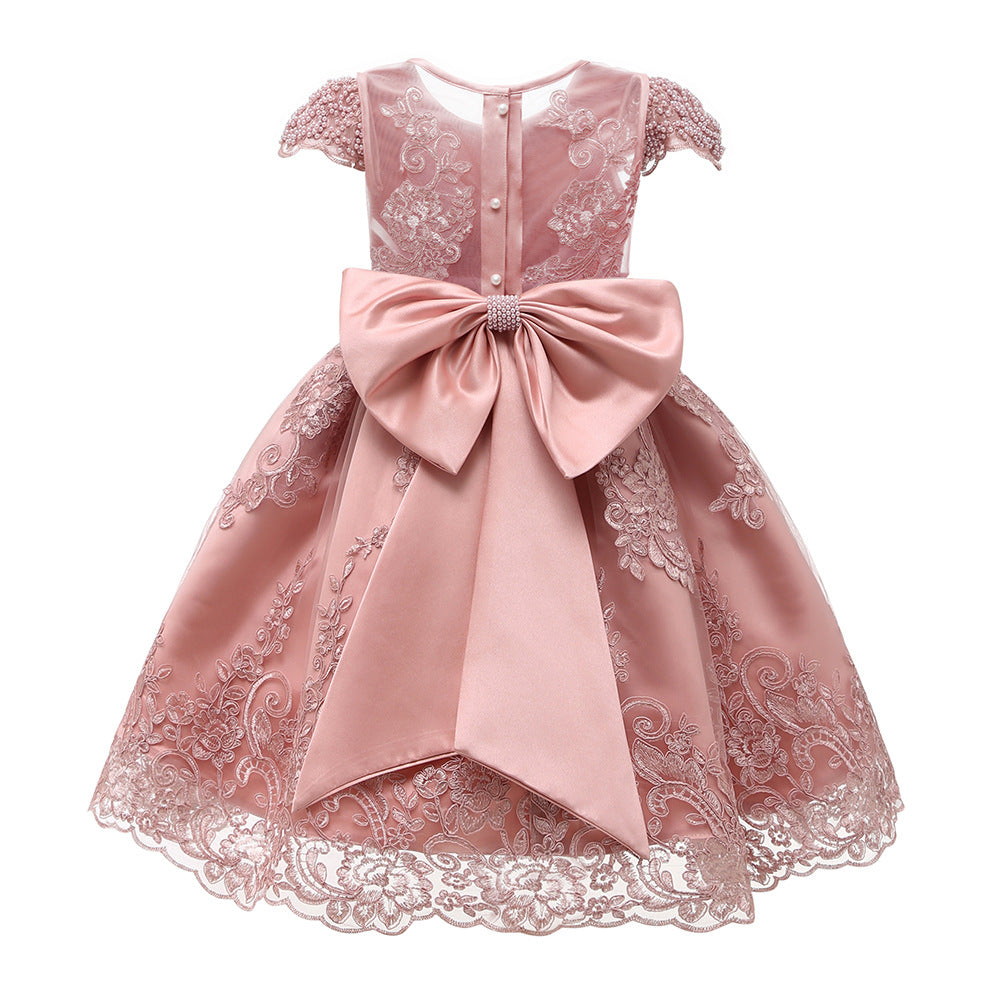 New Flower Girl Dress Pink Handmake Lace Beaded Gown for Kids Birthday Dresses with Bow Embroidery Sheer