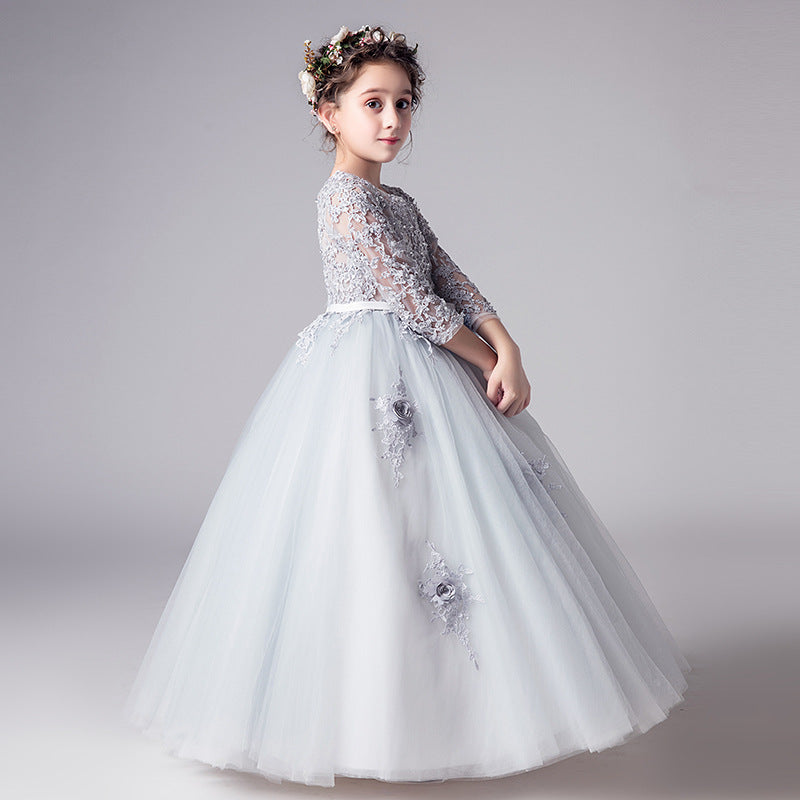 Cute Organza With Appliques Floor Length Long Flower Girl Dresses