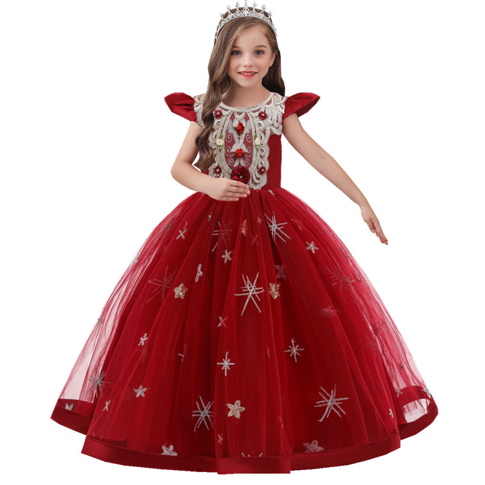 Girl Flower Dress Vintage Embroidery Long Kids Party Wedding Formal Dress Children Princess Party Dress Costume