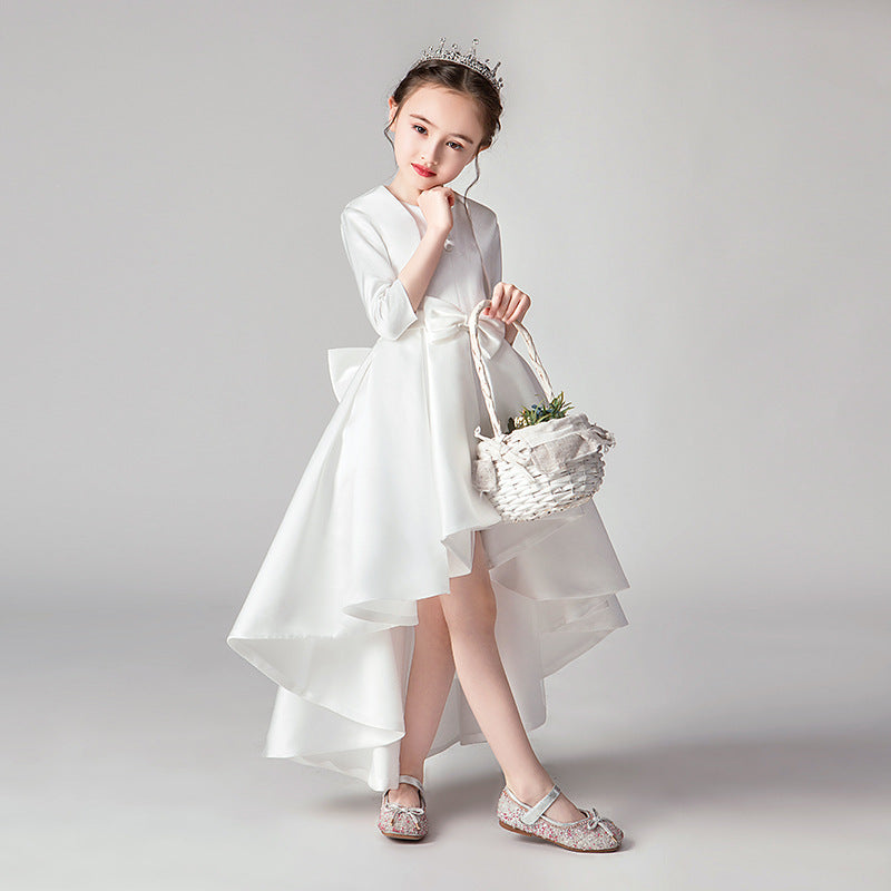 Holiday Dress with Bow for Girls Sleeveless Princess Dress for Banquet High Low Style Gown