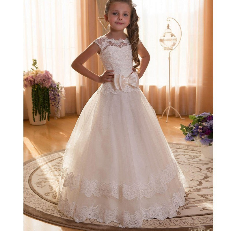 Communion Dress Flower Girl Dress for Wedding with bow Sleeveless Long lace Puffy Dress for Prom