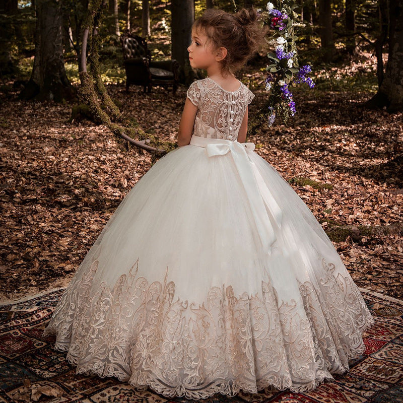 Flower Girl Dresses for Wedding Short Sleeve Lace Appliques Buttons Back Pageant Dresses Ball Gowns Princess Birthday Dresses