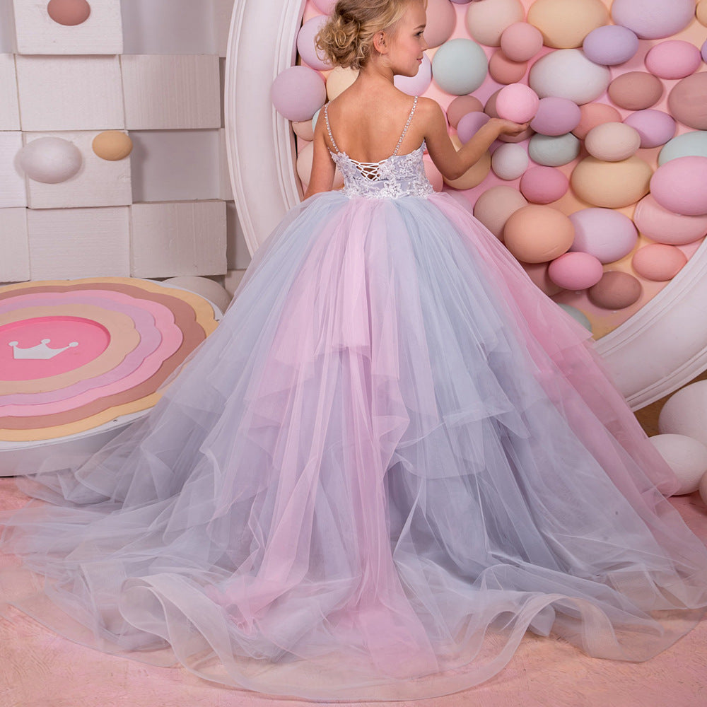Colorful Party Dress Wedding Girl Holiday Princess Dresses Embroidery Trailing Birthday Ball Gown