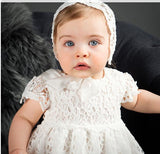 Baby Girl Embroidered Christening Baptism Special Occasion Newborn Long Dress with Bonnet