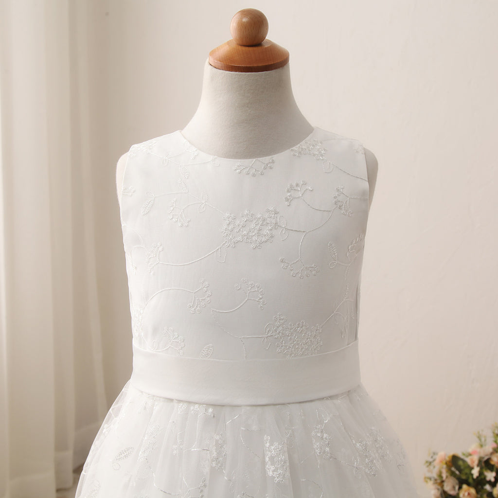 Communion Dress O-Neck Sleeveless A line Wedding Pageant Lace Flower Girl Dress with Belt for Kids 2-12 Year Old