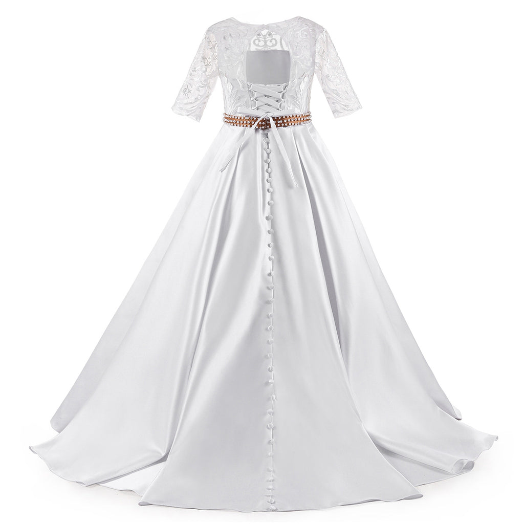 Beautiful First Communion Dress Half Sleeves Lace Satin Princess Ball Gown Hollow Back Flower Girl Dress