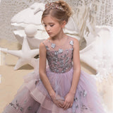 Flower Girl Dresses for Wedding Floor Length Ball Gown Pageant Puffy Tulle Dresses Flower Embroidery Princess Dresses