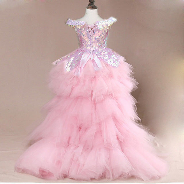 Off Shoulder Pageant Gown Small Sequins Trailing Dress Girls' Birthday Party Dresses