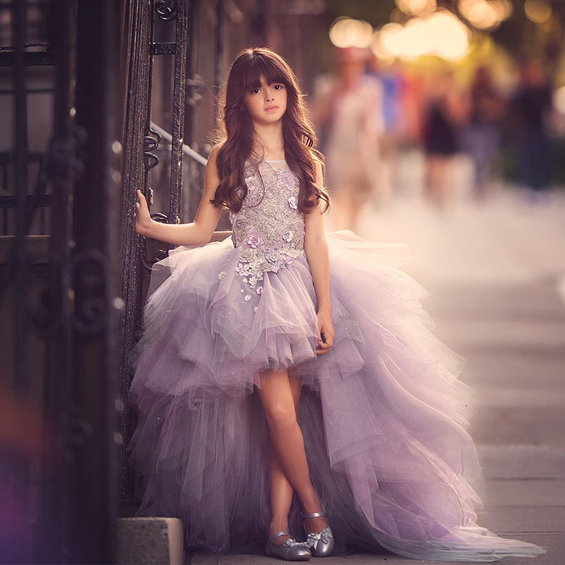 Purple Sleeveless Flower Girl Dress and Pageant Gown Kid's Princess Dress for Holidays