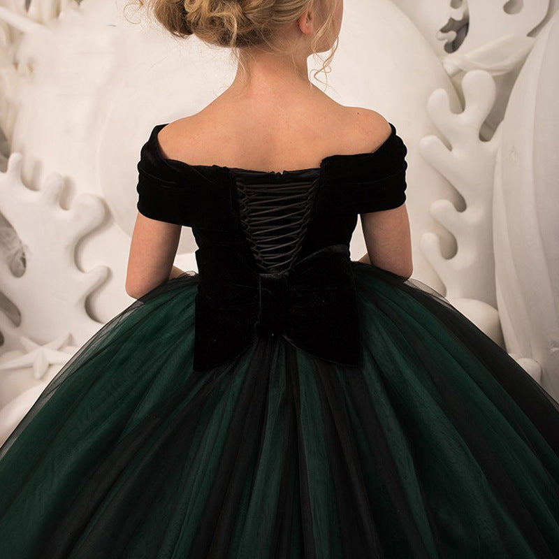 Dark Green Velvet Flower Girl Dress Birthday Wedding party Bridesmaid Holiday Black Velvet Flower Girl Dress