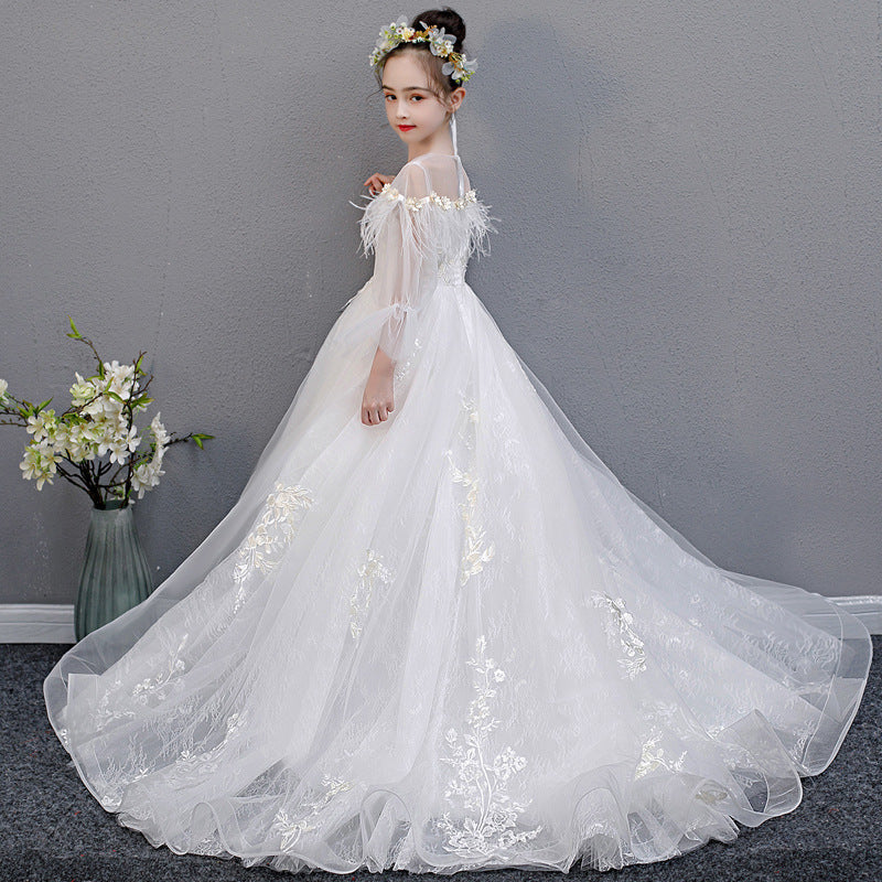 Girls Evening Dresses 2020 New Long Sleeved Princess Dress Communion Trailing Children's Catwalk White Dress
